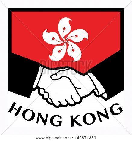 Hong Kong flag and business handshake, vector illustration