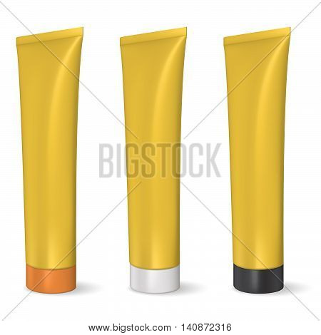 Golden blank tube, gel or cream. Product packing. Mock up. Toothpaste tube.