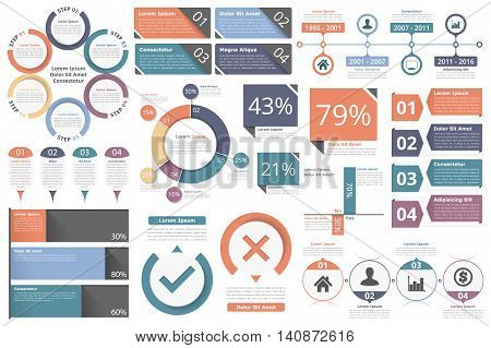 Infographic objects for presentations, reports, workflow - circle diagram, bar graph, pie chart, process diagram, timeline, objects with percents and text, business infographic elements, vector eps10 illustration