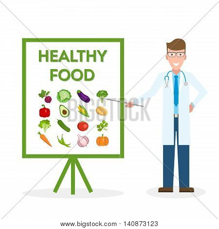 Doctor with healthy food banner. Nutritionist shows how to eat clean and fresh food. Green vegetables for body.
