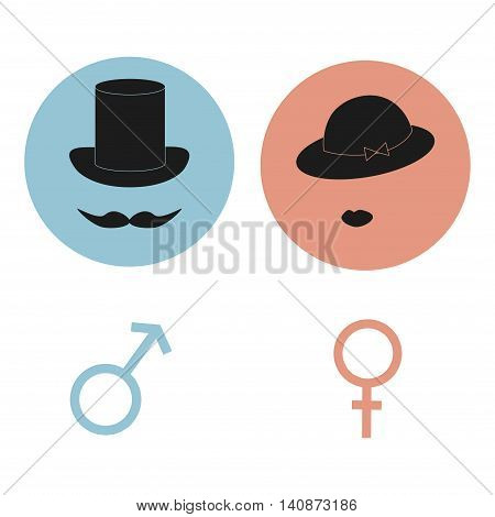 Gender symbols. Man and woman icons. Male and female restroom signs. Vector illustration.