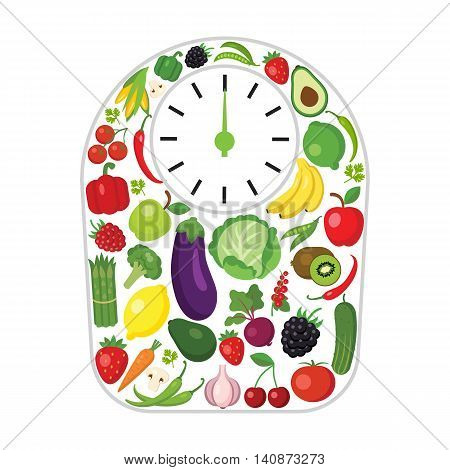 Weights made of vegetables and fruits. Concept of dieting, weight loss and finding balance. All kinds of fresh fruits and vegetables.