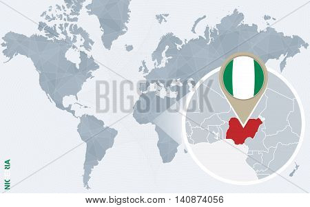 Abstract Blue World Map With Magnified Nigeria.