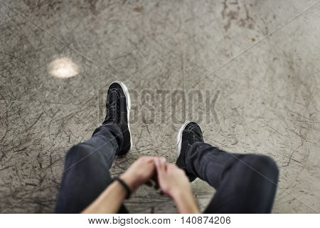 Sneakers Canvas Shoes Human Feet Legs Sitting Concept
