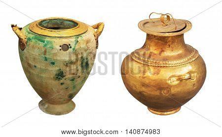 greek antique perfume vase and gold vase isolated on the white background