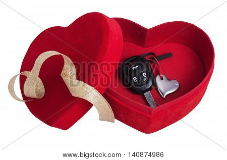 red box in the form of heart with keys isolated on white background