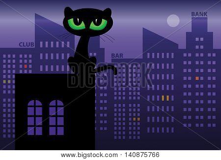 Black Cat on roof at night, vector illustration
