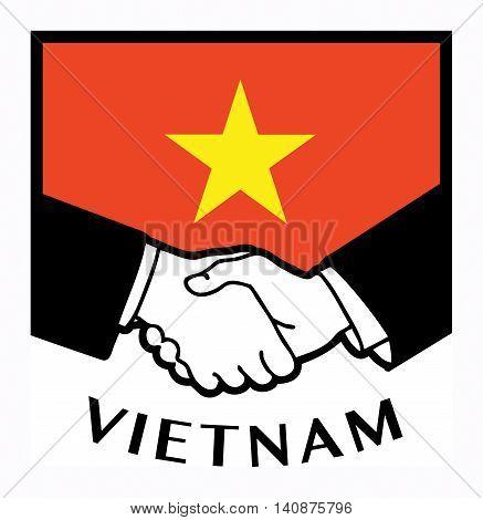 Vietnam flag and business handshake, vector illustration