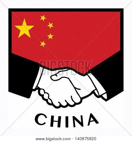 China flag and business handshake, vector illustration
