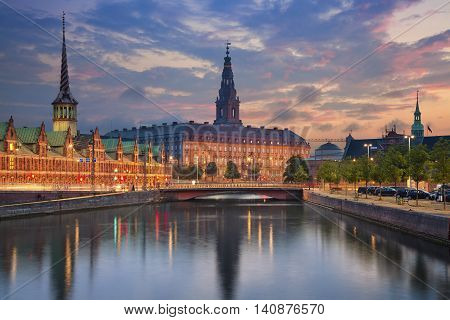 Copenhagen. Image of Copenhagen, Denmark during twilight blue hour.