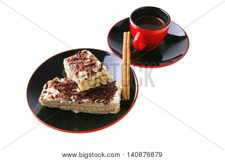 french roast coffee in red glass with chocolate cake