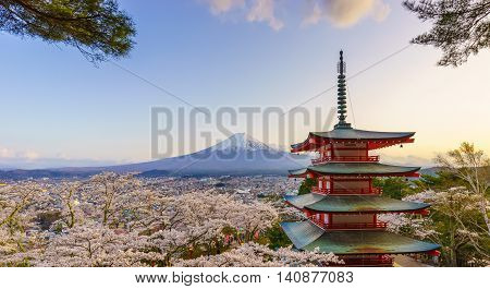Mt. Fuji with Chureito Pagoda in Spring Fujiyoshida Japan