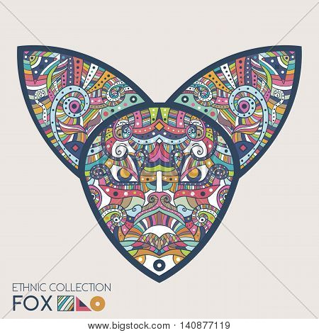 Decorated Fox head. Ethnic colored head of the fox. High detailed Patterned head of the fox. Vector Illustration