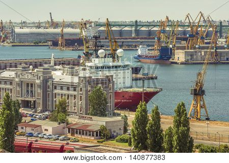 Constanta Romania - July 18 2016: Constanta industrial area port. Heavy load port cranes in Constanta.Top view over the Constanta shipyard the largest port on the Black Sea