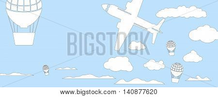 Air balloons and aircraft horizontal vector illustration for banner. Blue and white pastel colors background with flying transport. Travel float of air ship and plane. Blue sky and white fluffy clouds