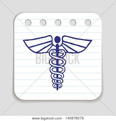 Caduceus emblem doodle icon. Blue pen hand drawn infographic symbol. Notepaper piece. Line art style graphic element. Web button with shadow. Herald wand with wings and two serpents.