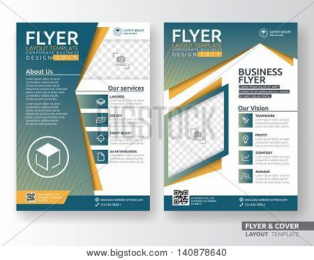 Multipurpose corporate business flyer layout template design. Suitable for leaflet flyer brochure book cover and annual report. Layout in A4 size with bleeds.