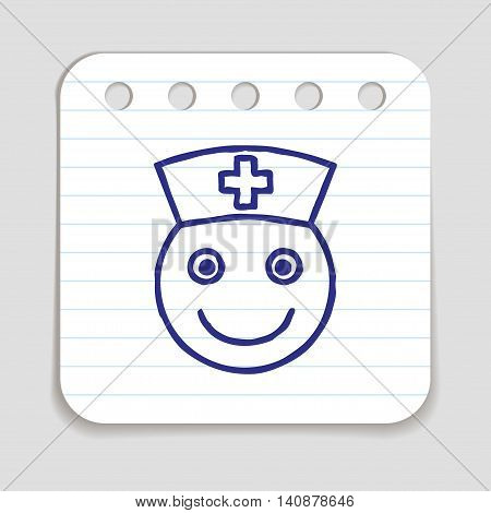 Doodle doctor nurse icon. Blue pen hand drawn infographic symbol on a notepaper piece. Line art style graphic design element. Profile picture avatar.