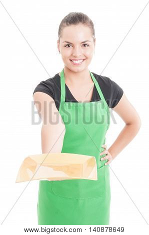 Beautiful Smiling Employee Offering Empty Plate