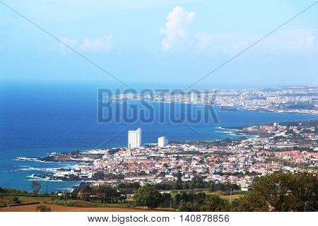Bird eye view of Lagoa and Ponta Delgada, Sao Miguel island, Azores, Portugal