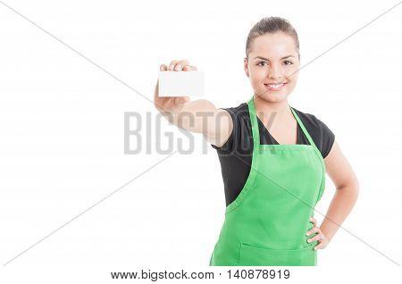 Happy Smiling Employee Handing Blank Visit Card