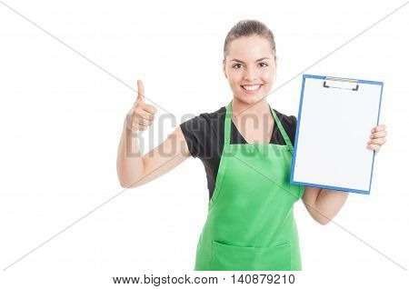 Pretty Female Employee With Clipboard Thumb Up