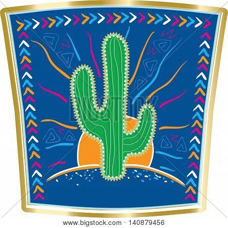 Abstract vector illustration of large Mexican cactus on background blue sky and blue Mexican desert framed by Mexican patterns.