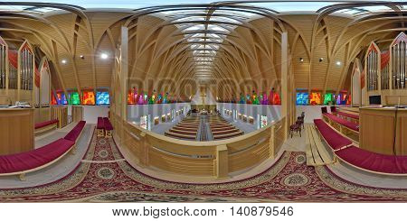 SUB CETATE, ROMANIA - July 16: 360 panorama from upstairs of the interior of Saint Joseph Catholic Church on July 16th, 2016, in Zeteváralja (Sub Cetate), Transylvania, Romania.