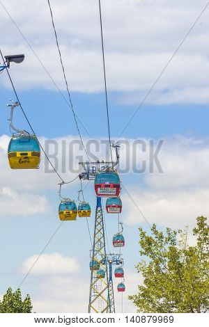 Mamaia Romania - July 19 2016: Gondola in Mamaia resort transport tourists.