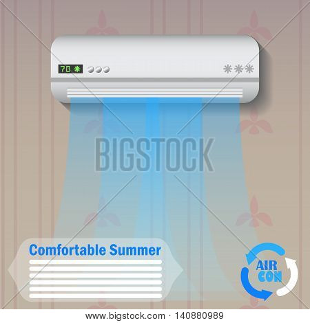 Modern conditioner with cold air flow at home vector illustration, advertisement banner template or background. Climate control technology. Conditioning split system. Summer cooling home appliance