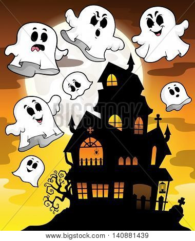 Haunted house silhouette theme image 2 - eps10 vector illustration.