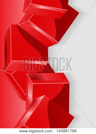 Glossy Geometric 3D Red Cubes Over Grey Scale Portrait Background