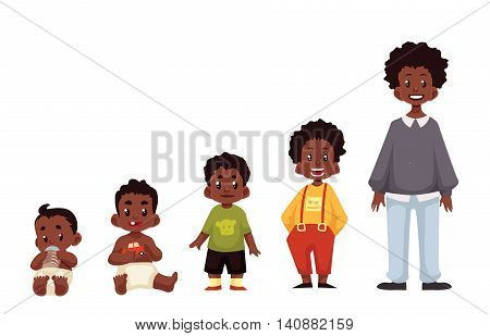 Set of black boys from newborn to infant toddler schoolboy and teenager cartoon illustration isolated on white background. African child development from birth to school age
