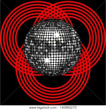 Silver 3D Disco Ball Over Black Background with Red Circle Patter
