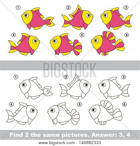 The design difference. Vector visual game for children. Task and answer. Find two similar Pink Fishes.