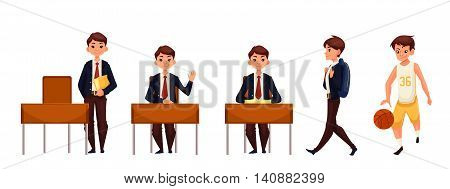 Cartoon school boy standing and sitting at the desk, walking and playing basketball. illustration isolated on white background. Schoolboy in different postures