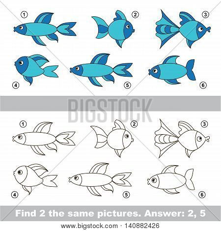 The design difference. Vector visual game for children. Simple level of difficulty. Easy educational game. Task and answer. Find two similar Fishes.