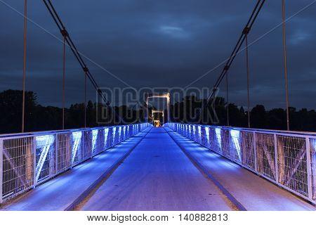 Pedestrian bridge above Loire River in Tours. Tours Pays de la Loire France