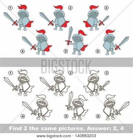 The design difference. Vector visual game for children. The easy level. Task and answer. Find two similar Knights.