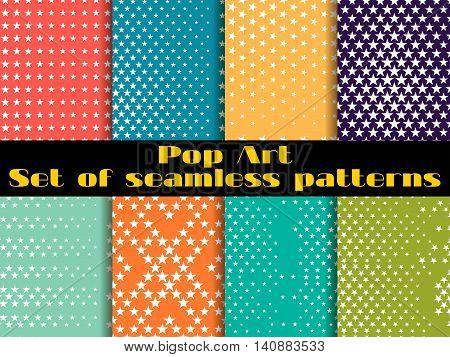 Stars, Pop Art Seamless Pattern Background. Set Vector Illustration.