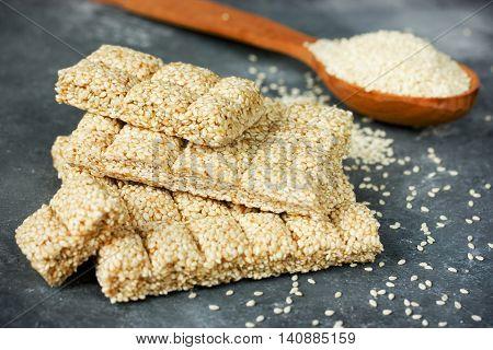 Homemade sesame seeds and honey kozinaki selective focus