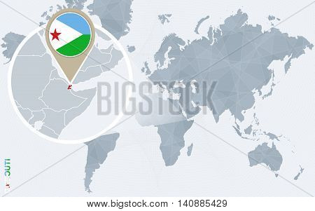 Abstract Blue World Map With Magnified Djibouti.