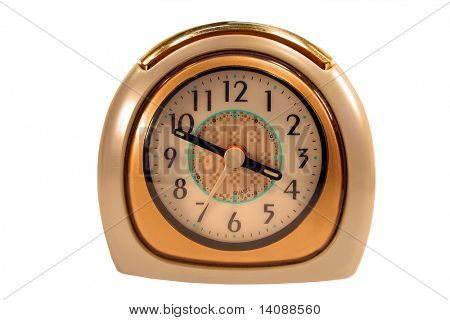 Old vintage clock on white background