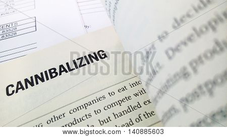 Cannibalizing word on the book with balance sheet as background