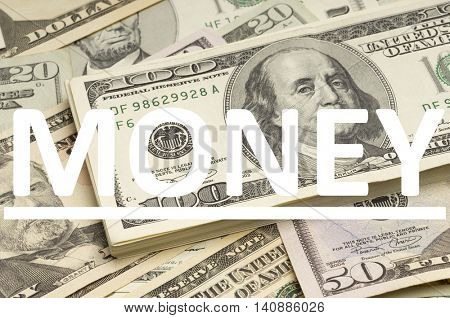US Dollars with Money written on it