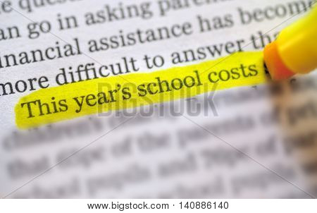 highlights on back to school costs, close up