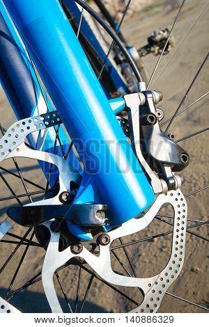 Detail disc brakes on the mountain bike