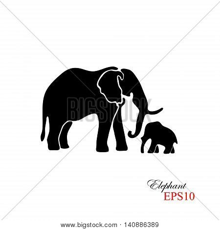 Elephant and baby elephant. The black silhouette of an elephant on a white background