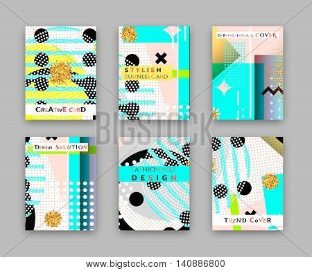 Fashionable original cover. Stylish business card. Design template bright solution, creative frame surface. Abstract composition, error texture, collection brochure 6 sheet, elements part construction