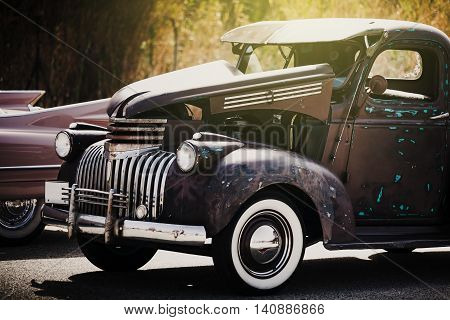 Classic american car. Vintage. Hot rod grunge style.